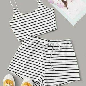 NWT Striped Crop Cami Top & Tie Waist Shorts Set